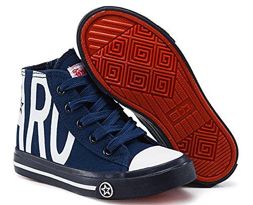 VECJUNIA KinderJungen und Mädchen Klassisch Hohe Schnürsenkel Unisex Sneaker Cool Street Schuhe mit Reißverschluss Blau