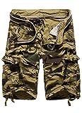 FOURSTEEDS Womens Loose Fit Multi-Pockets Camouflage Drawstring Thigh Bermuda Cargo Shorts Khaki US 18