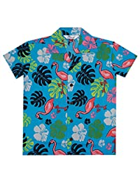 Alvish Hawaiian Shirts Boys Scenic Flamingo Beach Aloha Party Camp Holiday Casual