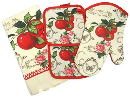 4 Piece Kitchen Towel Set (Garden Apple) - Apple Pot Holders