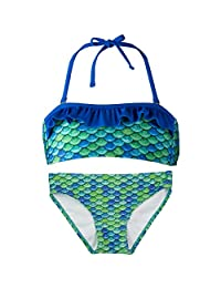 Fin Fun Bandeau Bikini Set, Aussie Green Top, Aussie Green Bottom, Girl's Large
