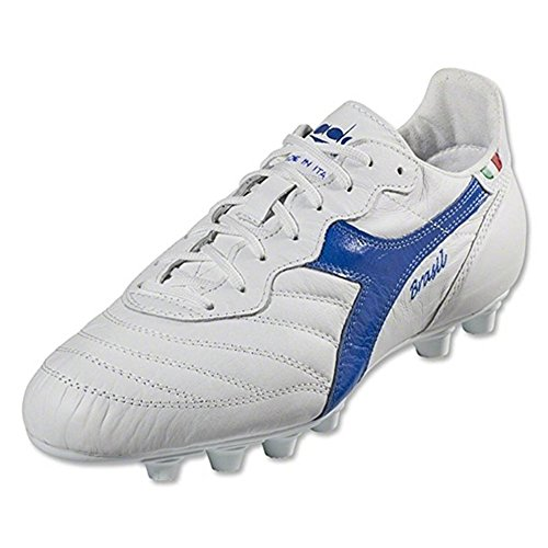 Diadora Men's Brasil Italy OG MD Soccer Cleats, White Kangaroo Leather, Polyurethane, 9.5 M