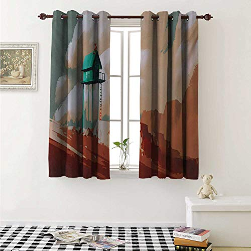 shenglv Fantasy Drapes for Living Room Little Wood House on Stone Hill with Robot on The Cloudy Roof Calming Artwork Print Curtains Kitchen Window W96 x L72 Inch Tan Green ()