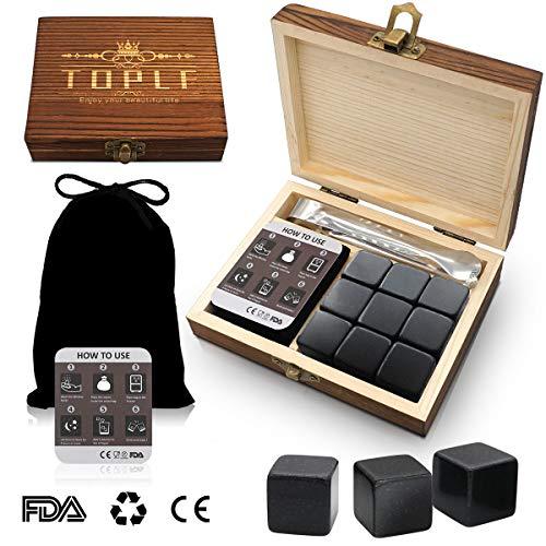 TOPLF Whiskey Stones Premium Gift Set, 9 Granite Whiskey Chilling Stones(Chilling Rocks), 1 Tong&1 velvet bag in Elegant Wooden Box, Best Choice for Bourbon James Whiskey Lover(100% Pure Soapstones)