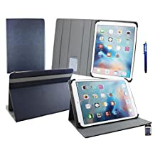 Emartbuy® Teclast X16 Power 11.6 Inch Tablet Universal ( 11 - 12.5 Inch ) Dark Blue Premium PU Leather Multi Angle Executive Folio Wallet Case Cover Grey Interior With Card Slots + Blue Stylus