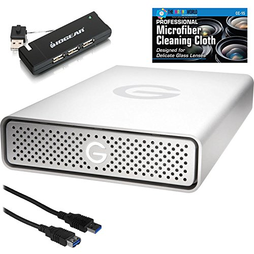 G-Technology 0G03594 4TB G-DRIVE G1 USB 3.0 External Hard Drive + 4-Port Hub + Accessories Bundle by The Imaging World