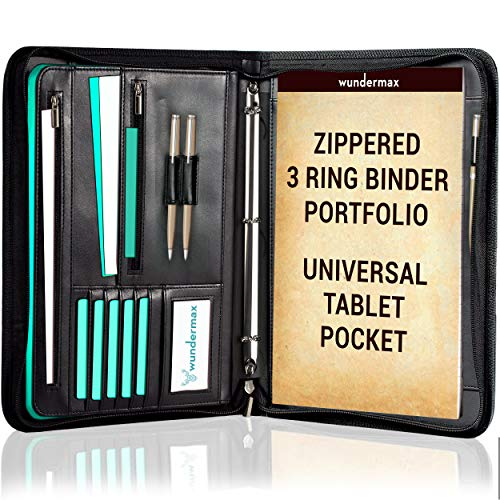 Wundermax Portfolio Binder A Zippered Padfolio with 3 Ring Binder Document Organizer Professional Interview PU Leather Folder Resume Holder Work Portfolio with Notebook and 10.1 Inch Tablet - Binder Organizer 3 Ring