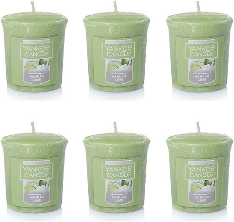 Yankee Candle Lot of 6 Vanilla Lime Votive Candles
