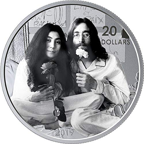 2019 CA Modern Commemorative PowerCoin GIVE PEACE A CHANCE Lennon Ono 50th Anniversary 1 Oz Silver Coin 20$ Canada 2019 Proof - Peace Dollars Commemorative Coins