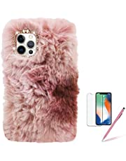 Plush Case for LG K92 5G, Girlyard Fashion Gradient Fluffy Faux Rabbit Fur Shell with Cute Bling Diamond Warm Furry Soft Silicone Rubber Protective Cover for Women Girls - Pink