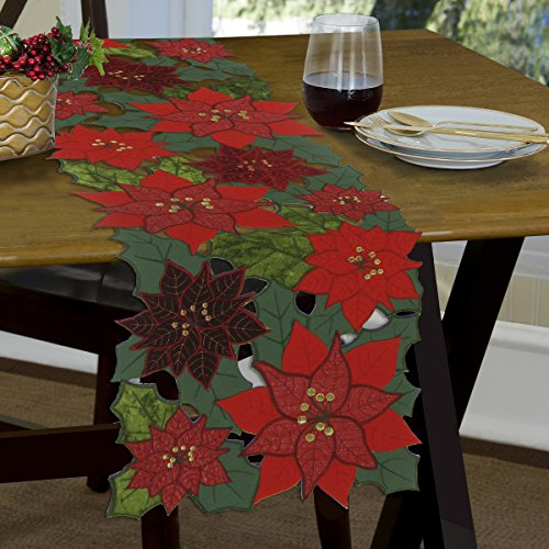 Applique Poinsettia Embroidered Christmas Holiday Table Runner, 13 x 70 Inch (Poinsettia Table Runner)
