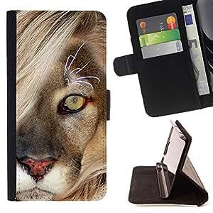 DEVIL CASE - FOR Samsung ALPHA G850 - Mane Lion Cub Feline Big Cat Nature - Style PU Leather Case Wallet Flip Stand Flap Closure Cover