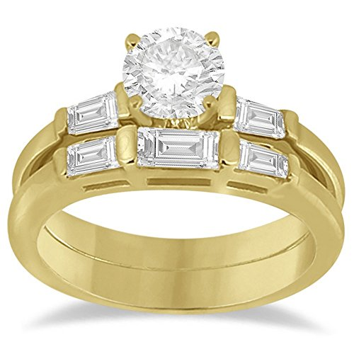 Set Three Baguette Diamond Band - Jewels By Lux Diamond Baguette Engagement Ring and Wedding Band Matching Bridal Set 14K Yellow Gold 0.60cw