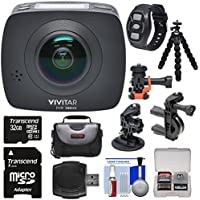 Vivitar DVR988HD 360 VR Wi-Fi Action Video Camera Camcorder (Black) with Remote + Action Mounts + Flex Tripod + 32GB Card + Case + Reader + Kit