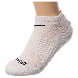 Nike Men's Dri Fit Cushioned No Show Socks Large (shoe size 8 12) (White)