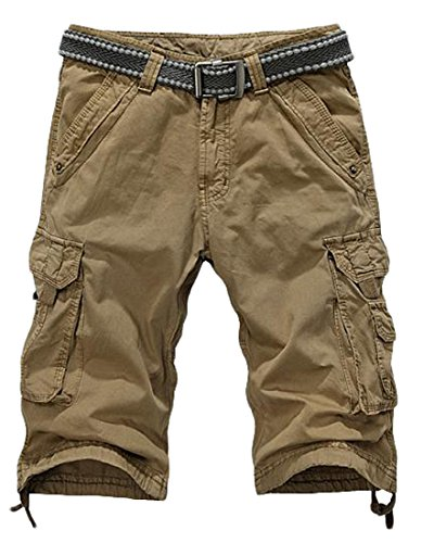 KXP Mens Casual Military Solid Summer Pleated Cargo Shorts Yellow S