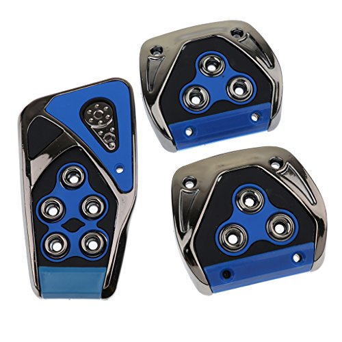 Homyl 3Pieces Manual Transmission Car Brake Clutch Accelerator Foot Pedal Non-Slip Pad Covers - Blue