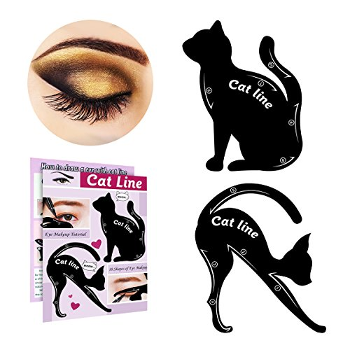 IBEET Cat Eyeliner Stamp Stencil Kit Cat Shape Eye Shadow Guide Template Multifunction Reusable Makeup Beauty Smoky Eye Models Shaper Tool (PVC, 2 PCS)