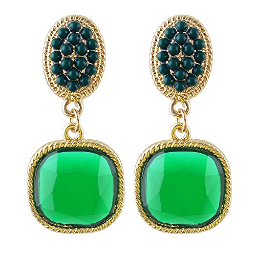 Gold Tone Round Colorful Acrylic Bead Square Cut Shape Cubic Zirconia Clip Drop Dangle Earrings for Women (Green)