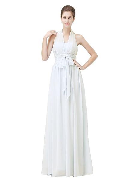 OKDRESS Vestido largo de gasa sin espalda para mujer, estilo vintage Blanco blanco 52 Más