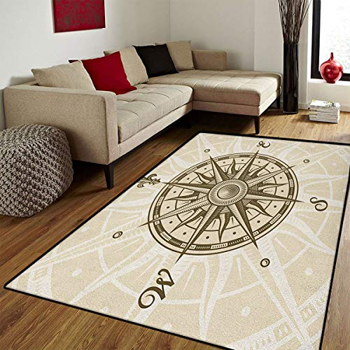 Compass,Door Mat Small Rug,Sun Motif Backdrop with Windrose Directions East West North South Navigation,Bath Mat 3D Digital Printing Mat,Olive Green Beige,3x5 -