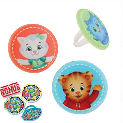 Daniel Tiger's Neighborhood Best Buds Cupcake Toppers and Bonus Birthday Ring - 25 pieces ()