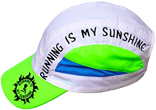 Running is My Sunshine Hat - Running Race Day Cap, Premium Ultra Lightweight, High Visibility, Reflective Safety Colors, Quick Dry, Adjustable Jogging Outdoor Sports (Marathon Running Cap)