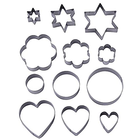 12 Pieces Metal Cookie Cutters, 3 Stars Shape, 3 Flowers Shape, 3 Round Shape, 3 (Divertimento Cookie Cutters)