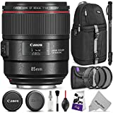 Canon EF 85mm f/1.4L is USM Lens w/Advanced Photo and Travel Bundle - Includes: Altura Photo Sling Backpack, Monopod, Camera Cleaning Set