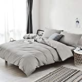 RUIKASI Duvet Covers Double 4PCS Bed Bedding Set(Duvet Cover, Fitted Sheet, Envelope Pillowcases),Non-Iron Luxury Microfiber, Warm and Cozy (Grey, 4PC Double)