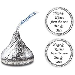 324 Hugs and Kisses from The New Mr. & Mrs. Hershey Kiss Wedding Stickers, Chocolate Drops Labels Stickers for Weddings, Bridal Shower Engagement Party, Hershey's Kisses Party Favors Decor