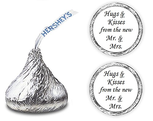 (324 Hugs Kisses from The Mr. & Mrs. Hershey Kiss Wedding Stickers, Chocolate Drops Labels Stickers Weddings, Bridal Shower Engagement Party, Hershey's Kisses Party Favors Decor)