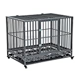 Pawhut 42'' Heavy Duty Steel Dog Crate Kennel Pet Cage w/ Wheels - Grey Vein
