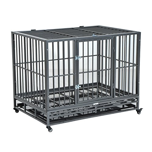 Pawhut 42' Heavy Duty Steel Dog Crate Kennel Pet Cage w/ Wheels - Grey Vein