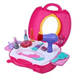 Chinatera Kids Girls Makeup Toy Chic Dresser Children Simulation Pretend Role Play Set Carry Case Playhouse Toy