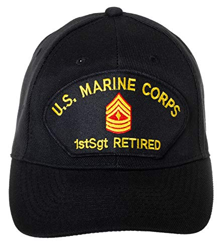 Artisan Owl US Marine Corps Retired First Sergeant Embroidered Patch Black Baseball Cap