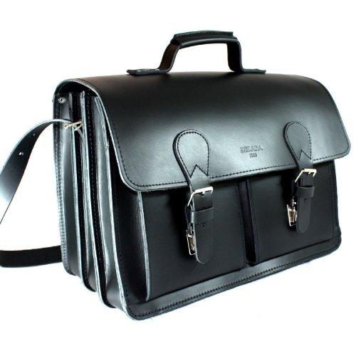 DELARA spaziosa valigetta in pelle nera con tracolla