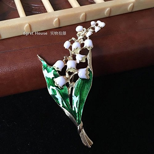 France bell lily of the valley flowers simulation design enamel flower bouquets Europe retro brooch