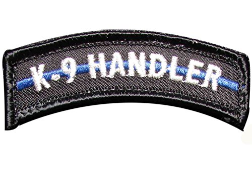 K9 HANDLER TAB THIN BLUE LINE POLICE SWAT TACTICAL MILITARY Morale Patch Hook Backing