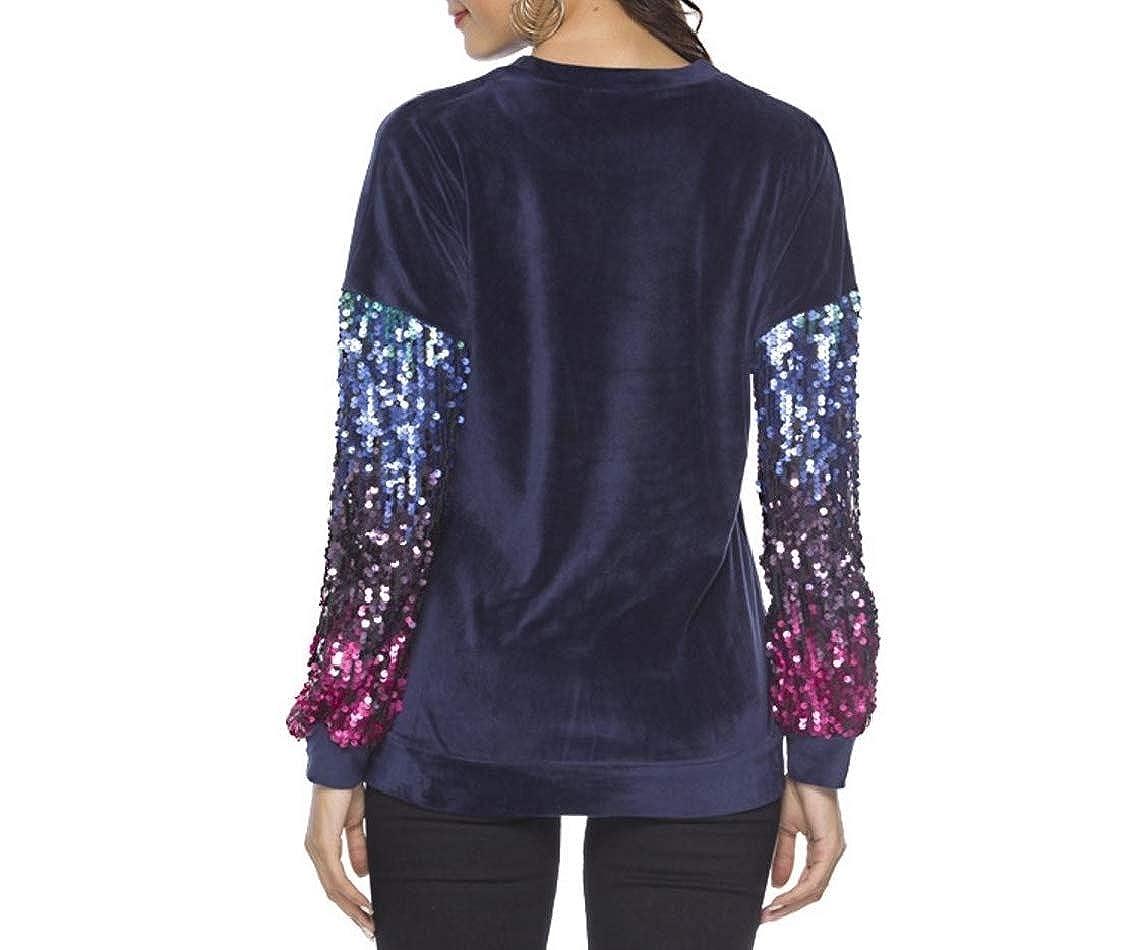 LinkShowWomen Crew Neck Sequin Glitter Patchwork Weekend Fashion Pullover Shirts Top