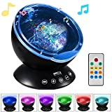 Night Lights,Newest Generation Remote Control Ocean Wave Projector with Built-in Music Player,12 LEDs & 7 Color Changing Modes Constellation Night Light for Living Room and Bedroom(Black) (Upgrade)