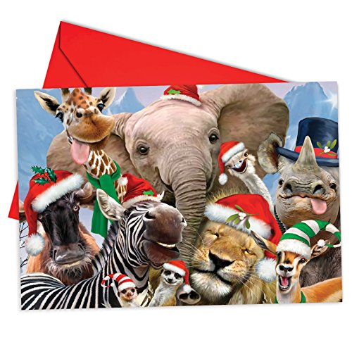 (12 'Merry Christmas to Zoo Elephant Boxed Christmas' Note Cards w/ Envelopes 4.63 x 6.75 inch, Merry Xmas Greeting Cards with Smiling Animals, Stationery for Kids, Adults, Holidays, Gifts B6652CXSG)