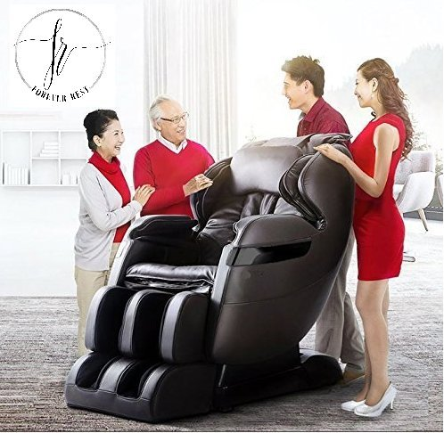 NEW FOREVER REST FR-5Ks PREMIER BACK SAVER, SHIATSU, ZERO GRAVITY MASSAGE CHAIR WITH FOOT ROLLING AND BUILT IN HEAT, STRETCH MODE (dark brown) (Massage New Chair)