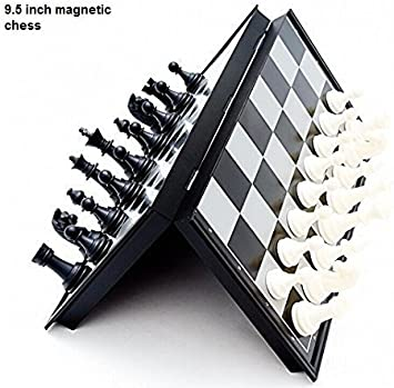 VALWLD Smooth Surface Magnetic Chess Board (Black and White, 12-inch)