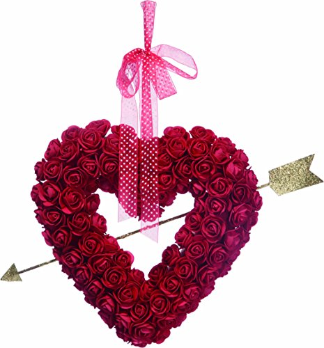 Ten Waterloo Valentine's Day Heart Wreath with Roses 13.25 Inches - Glittered Gold Cupid's Arrow and Hanging Ribbon on Artificial Clustered Rose Wreath