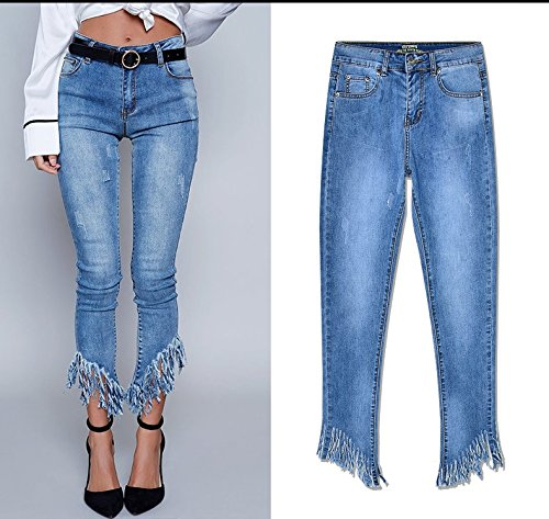Mezclilla Blue Puntos Para Washed Mujer Mxnet Denim Stretch Alta Tassel Pantalones Cintura Length Irregular De Slim 70wnOwEUZq