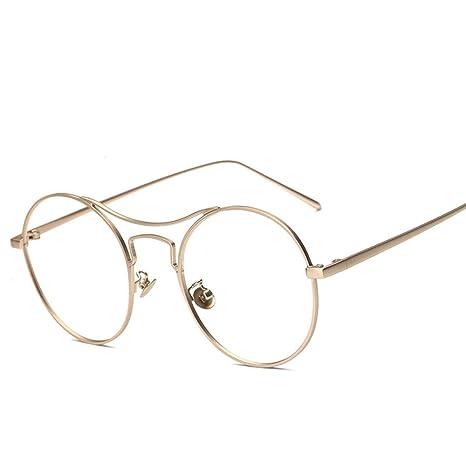 Rotondo Montatura Occhiali in Metallo Occhiali da Vista, Alxcio Retrò Aviatore Occhiali Decorazione con Lenti Trasparenti Per Unisex Uomo Donna, Grigio
