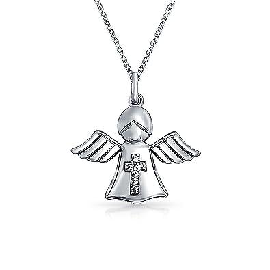 Sterling Silver CZ Angel Pendant