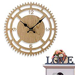Rotary Wall Clock Big with Perfect Wooden Design, Silent Non Ticking Big Wall Clock 13 Inch Quality Quartz Decorative Wall Clock, Round Easy to Read Home, Office, School Clock