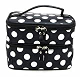 Bolayu Makeup Double Cosmetic Hand Bag Tool Storage Toiletry Chic Lady's Wave Dot Case (B)